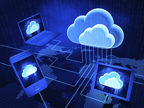 Concept of cloud computing. 3d render